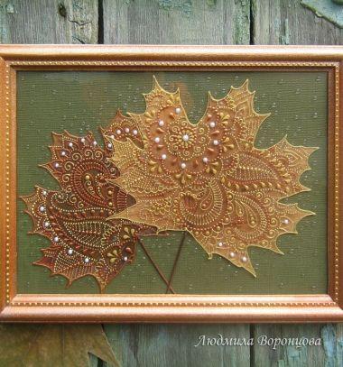 Gorgeous artworks with fall leaves and glass paint // Gyönyörű őszi faliképek falevelekből üvegfestékkel // Mindy - craft tutorial collection //
