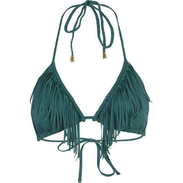 TopShop Braided Fringe Triangle Bikini ($29) ❤ liked on Polyvore featuring swimwear, bikinis, green, green bikini, halter neck bikini top, halter swim top, green bikini top and triangle bikini swimwear