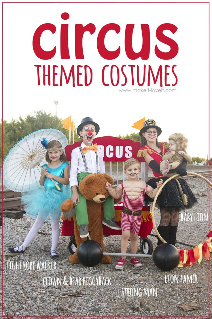 DIY CIRCUS Themed Costumes...all 5 KIDS (plus a VIDEO)!!! | via www.makeit-loveit.com