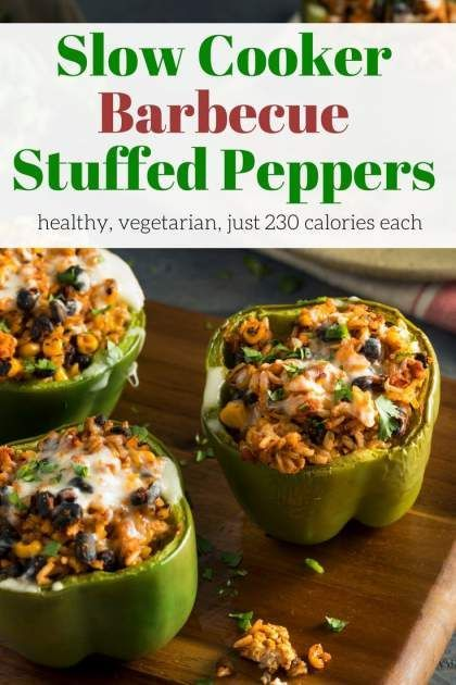 Slow Cooker Vegetarian Barbecue Stuffed Peppers packed with brown rice, black beans, corn, barbecue sauce, and cheddar cheese make a healthy, filling meal. | Winter | Healthy Recipes | Comfort Food | Vegetarian | Gluten Free | Dinner | #slenderkitchen #healthyrecipes #weightwatchers #stuffedpeppers #vegetarian #glutenfree