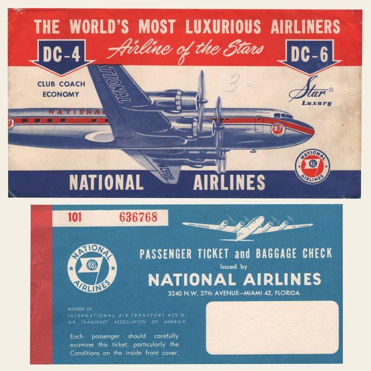 National Airline Ticket Jacket and | OldBrochures.com