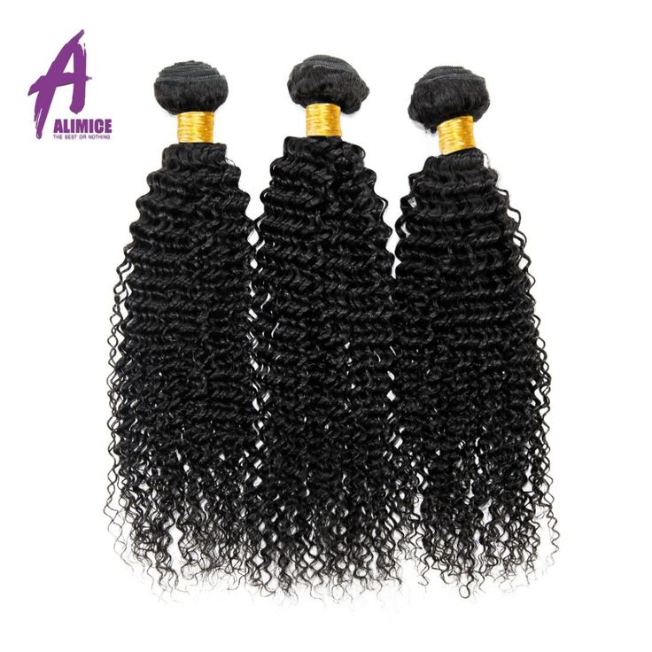 Alimice Hair Brazilian Kinky Curly Hair Extenion 100% Human Hair Weave Bundles Natural Color Non-Remy Hair Bundles Free Shipping