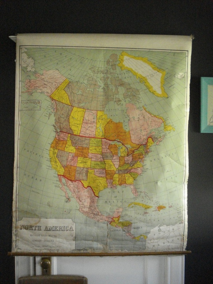 Vintage Pull Down School Map - 1950s Roller Map Pulldown