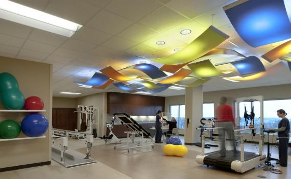 In the rehabilitation therapy space colorful cloud for Physical therapy office layout