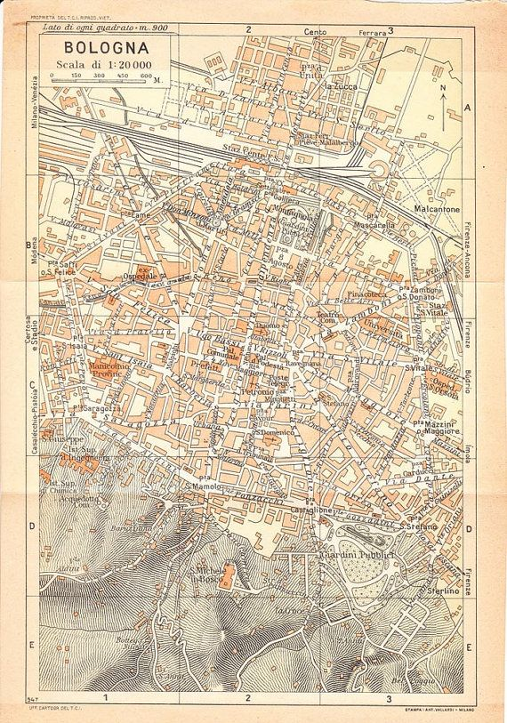 1949 City Plan Bologna, Italy, Street Map