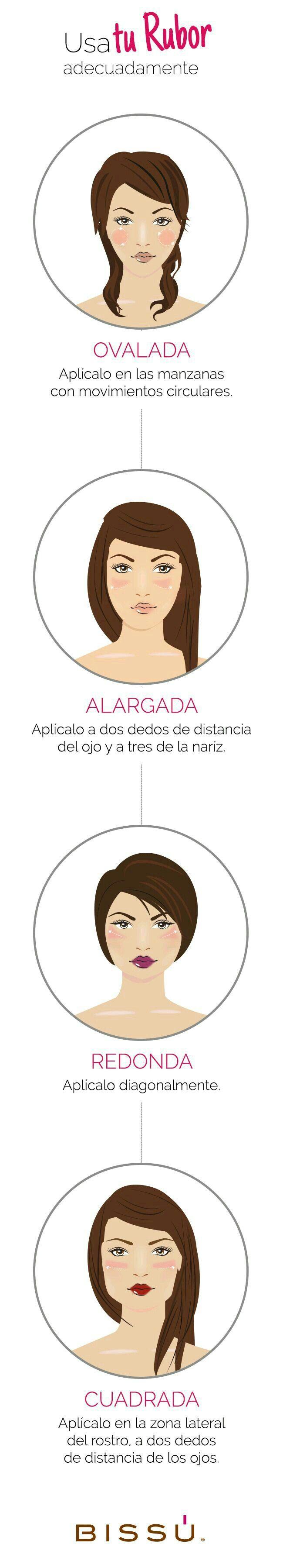Cómo aplicar rubor según la forma de tu rostro.                                                                                                                                                                                 Más