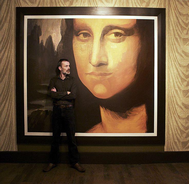 Unfinished Mona Lisa reproduction, Emulsion on wood. Bella Italia restaurant, Limerick City.