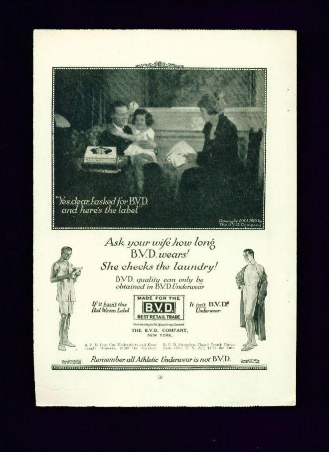 Bvd Underwear Ad Here's the Label Men In Underwear (1919)