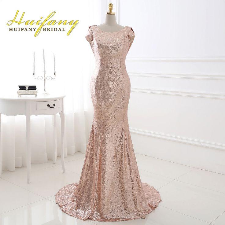 Huifany Rose Gold Pailletten Bruidsmeisjekleding Real Kapmouwtjes Lage terug mermaid meid van honor jurk plus size bruiloft jurk