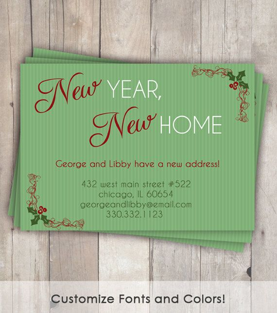 moving announcement change of address card christmas new year new home printable digital file crafty stuff pinterest moving announcements new