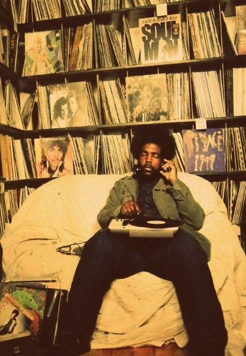 Questlove, all that vinyl!!! He's said to have over 60,000 records in his collection with a monthly budget of 4,000 dollars for new ones. Now that's a love supreme!