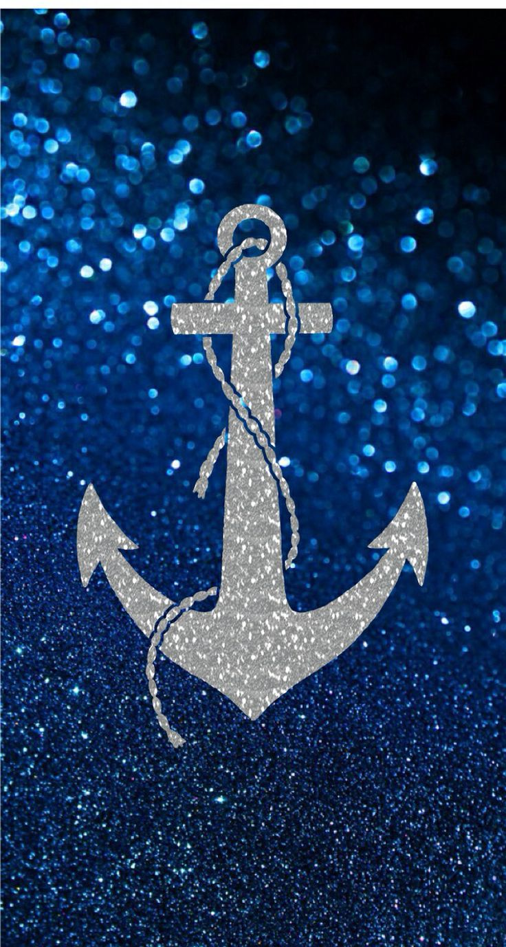 Mermaid iphone wallpaper tumblr - Silver Anchor On Dark Blue Glitter Background Wallpaper Iphone Cell Phone