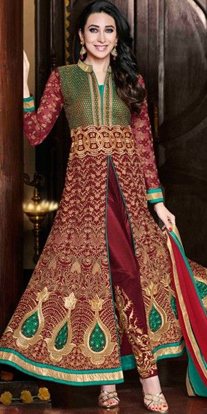 Maroon Georgette And Shantoon Designer Full Length Anarkali Suit With Chiffon Dupatta.