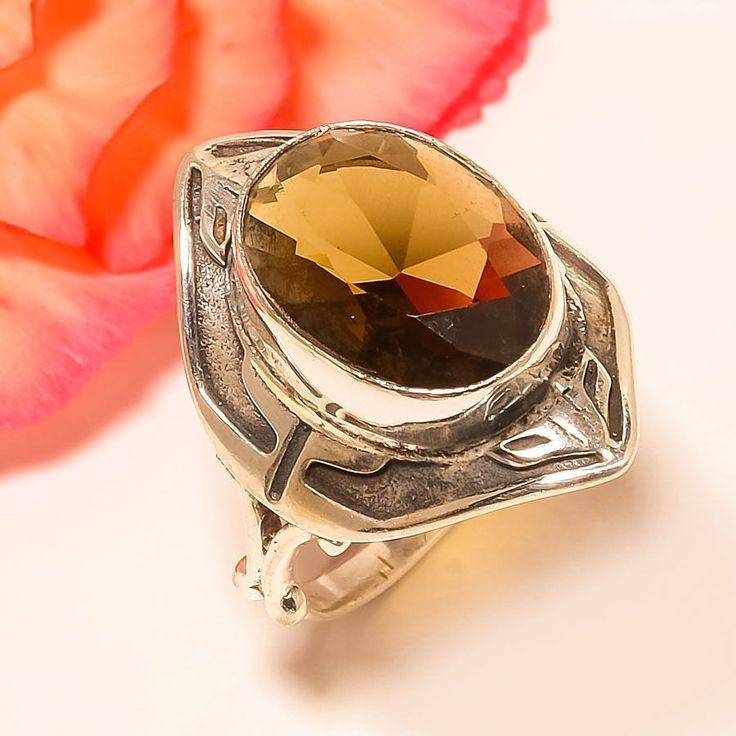 Smokey Topaz Vintage Style 925 Sterling Silver Jewelry Ring 9 #Handmade #Statement