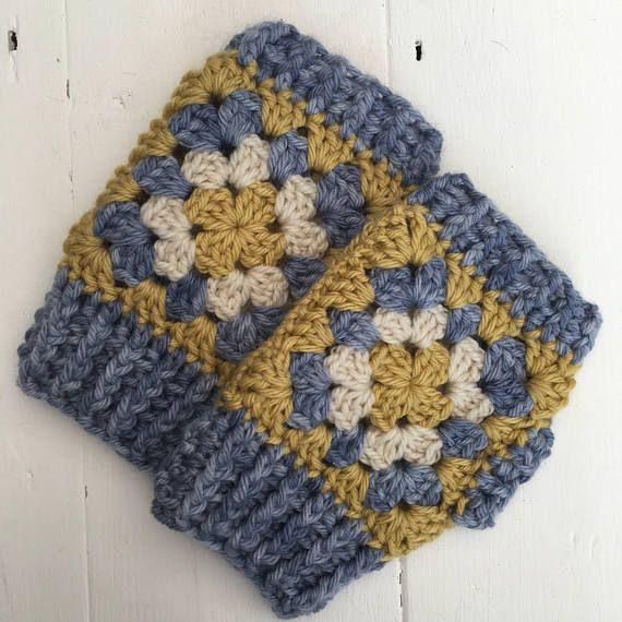 Crochet Wrist Warmers Granny SquareFingerless Gloves