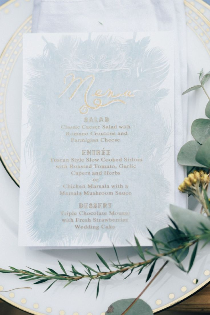 feather blue gold stationery invitations romantic swan lake wedding ideas httpwww