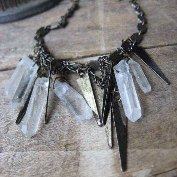 gunmetal spikes and rock crystal prisms necklace