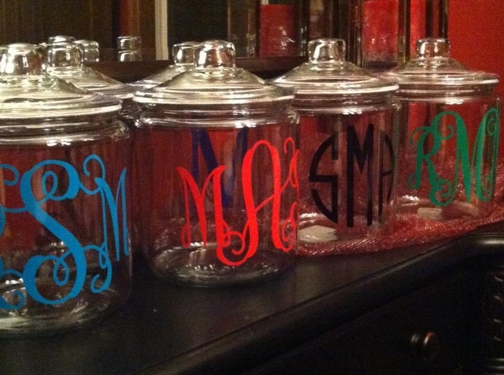 Vinyl monogram on a plain glass jar! LOVE! Get your monogram at www.initialoutfitters.net/ashleythames