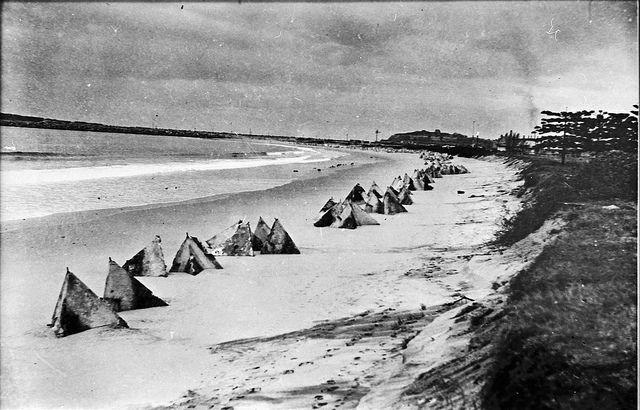 Tank traps on Stockton Beach, Newcastle NSW during WWII