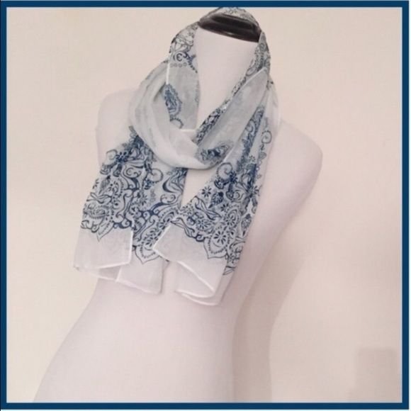 "❗️GOOD TO BUNDLE :NWT Blue and white chiffon scarf NWT White and blue chiffon scarf  SIZE: 61""x 13""   A really nice blue and white scarf for this winter. Note: the scarf pictured is the actual scarf. Entropy Accessories Scarves & Wraps"