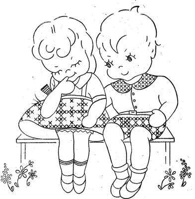 Aunt Martha 9774 Boy & Girl in Gingham Cross Stitch. A 1940s hand embroidery pattern.