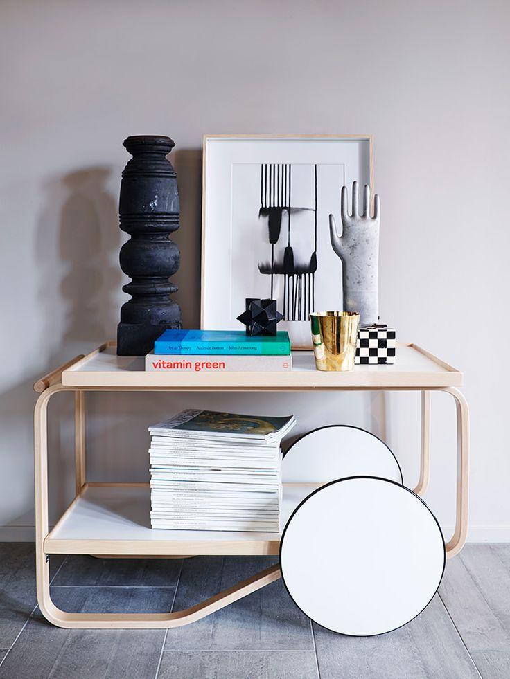 Vignette on a bar cart designed by Avar Aalto