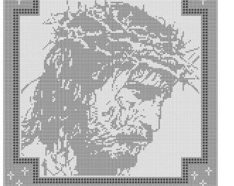 Jesus Crown of Thorns Filet Crochet Pattern Doily Mat Wallhanging Afghan Item 445