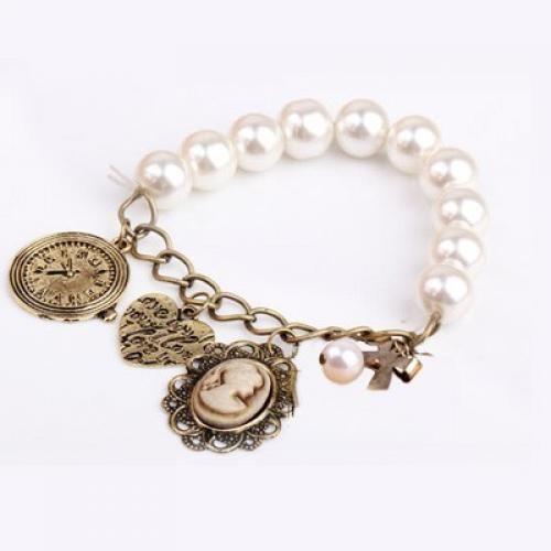 Elastic Pearl Heart&clock&portrait Beaded Charm Bracelet