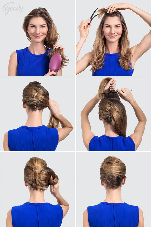 Create a beautiful French Twist with this Goody tutorial. Step 1: Add volume and tease hair with a brush. Step 2: Separate top section of hair with a sectioning clip, clipping to the side. Step 3: Pull hair to one side and pin with overlapping bobby...