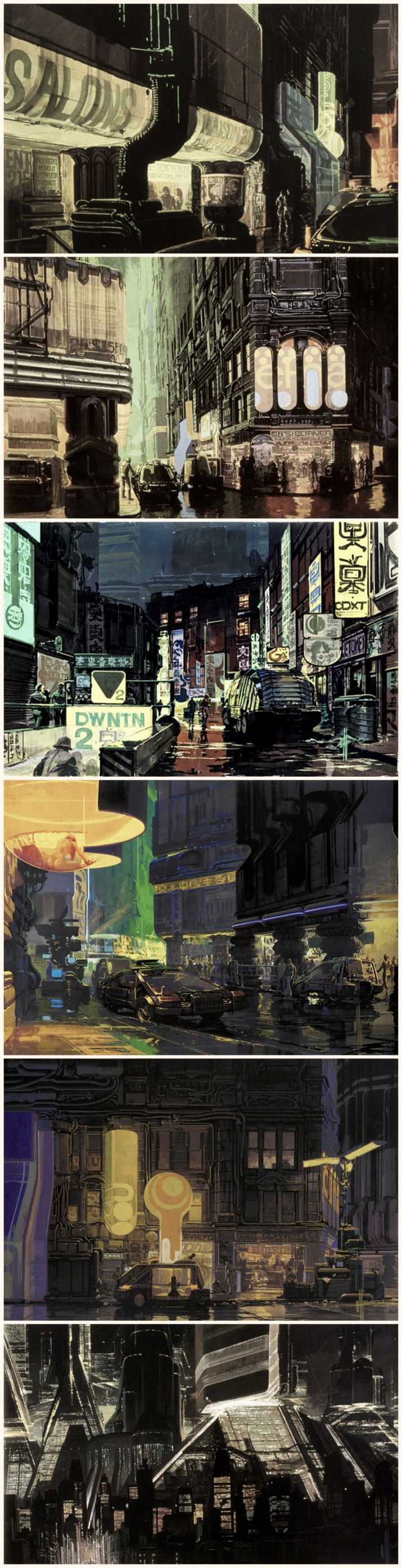 """""""Blade Runner"""" concept art by Syd Mead. Syd Mead created a artwork what show a life in a night city. I think that this should be different and experimental to try."""
