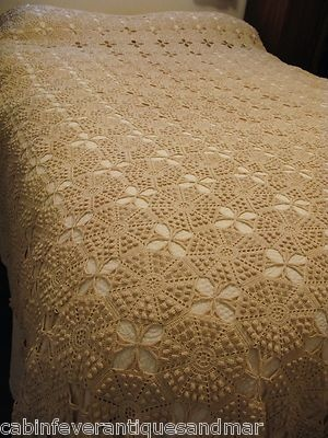 Antique Popcorn Crochet Lace Bedspread Canopy Coverlet Throw Ecru 68x96 Nice   eBay