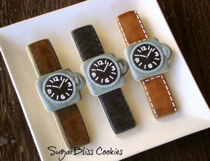 Adorable watch cookies. Perfect for Father's Day! SugarBliss Cookies: Miscellaneous