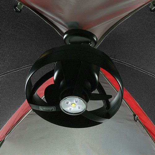 Battery-operated tent fan and light.  Really does keep your tent much cooler.  LED light. #camping