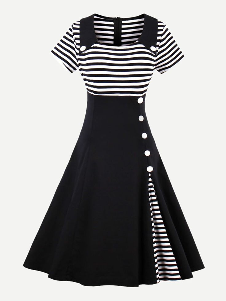 Kleid mit Streifen und Knöpfen Detail – German Sh…