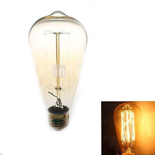 1 stuks Zweihnder E26/E27 40W 1 COB 500 lm Warm wit ST64 edison Vintage LED-gloeilampen AC 220-240 V - USD $3.99