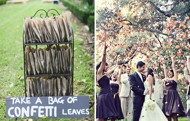 Leaves: If you're planning to wed in autumn months, make use of your natural surroundings. Plus, falling leaves create a great backdrop for photos