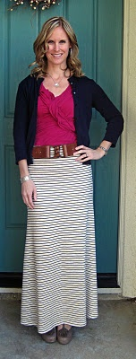 belted maxi skirt & cardigan...use different colors