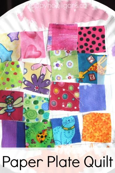 Paper Plate Quilt - Great Letter Q craft for kids.  Toddlers and preschoolers love exploring the colours and patterns of fabric scraps. - Happy Hooligans