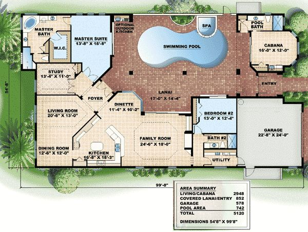 Plan w66000we corner lot mediterranean florida house for House plan with swimming pool