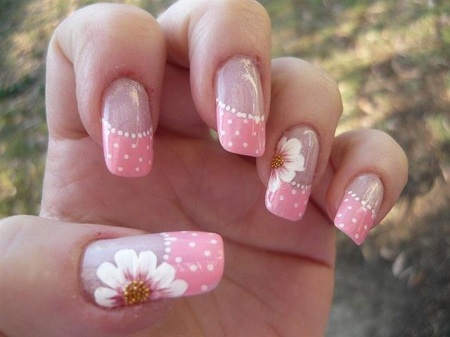 Spring french pink daisy by Pookster - Nail Art Gallery nailartgallery.nailsmag.com by Nails Magazine www.nailsmag.com #nailart