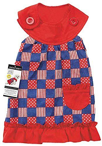 "Zack & Zoey Patriotic Pooch Patchwork SPF Dress for Dogs, 14"" Small/Medium"