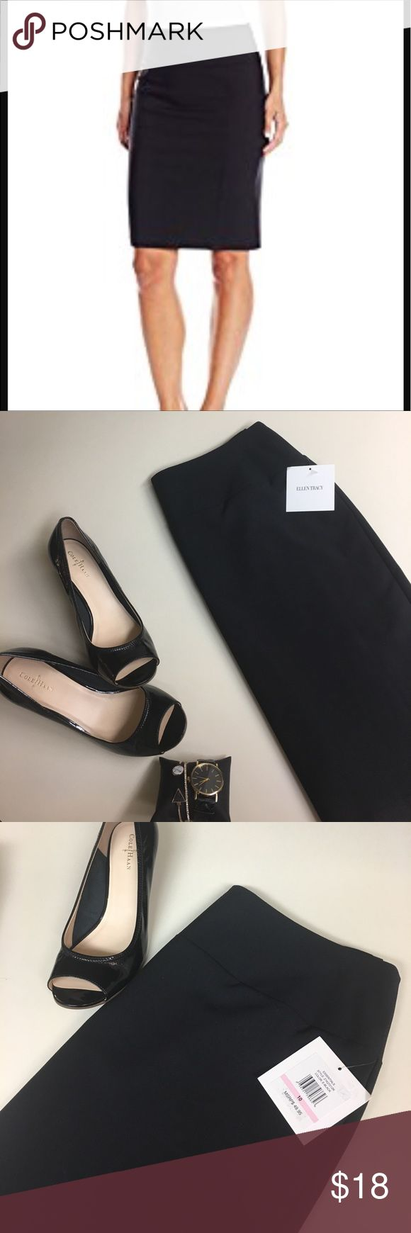 🆕Ellen Tracy NWT black pencil skirt-staple piece! 🆕Ellen Tracy black pencil skirt- zip back-sown in silky slip; perfect staple piece must have for every woman! Not only for the office! You can do so much with a black pencil skirt. I have one in every color of this exact skirt because they are incredibly comfortable along with chic, and just the right amount of sexy❤️🆕reasonable offers accepted! Ellen Tracy Skirts Pencil