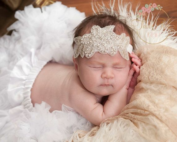 For Baby Women Girl High Quality Hand-beaded Rhinestone Newborn Baby Headband Girls Silver Leaves hair bands Bridal headdress #Affiliate