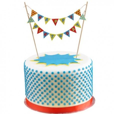 """Mini guirlande pour gâteau """"Happy Birhthday"""" comprenant 17 petits fanions de multicolores. Dimensions: tiges 17cm."""