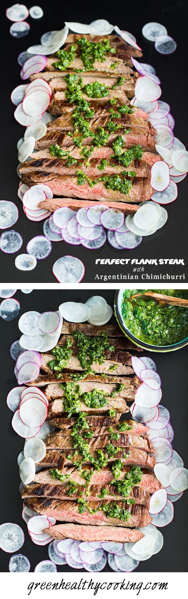 To die for Perfect Flank Steak with Argentinian Chimichurri recipe including instructions on how to make a perfect steak to desired doneness. #Beef #Flank_Steak #Chimichurri
