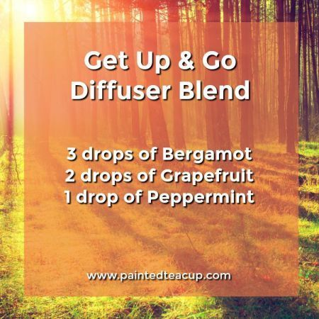 Get up and go diffuser blend perfect for sleepy mornings. It will give you energy to get motivated for the day. 5 Monday Essential Oil Diffuser Blends to make your Monday a little more manageable! Blends for morning energy, afternoon focus & evening relaxation! This essential oil diffuser blend uses bergamot, grapefruit and peppermint essential oils.