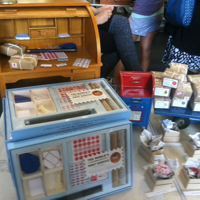 The World's Smallest Post Office, seen at Renegade Craft Fair, San Francisco, 2012. It's a set of tiny, super-tiny, stationary and packaging material, presumably to make gifts for mice.