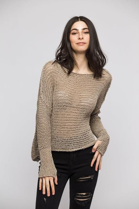 794bb328f Fall Spring chunky linen knit sweater
