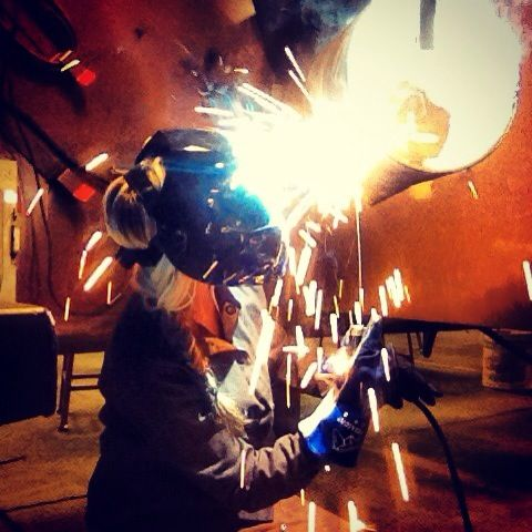 "Mad props to her.... ""Me welding. Girls weld too. Paid to practice, My passion and career. 5G welding pipe."""