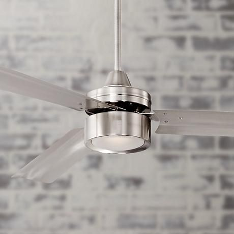 Three brushed nickel finish metal blades and a frosted glass LED light give this brushed nickel ceiling fan smooth, modern style.